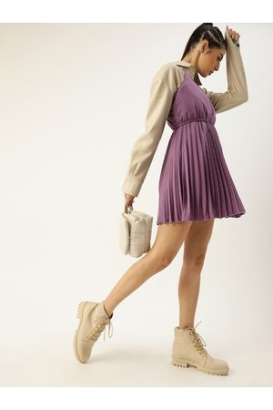 U&F Women Purple Solid Accordion Pleated Shoulder Strap Fit and Flare Dress