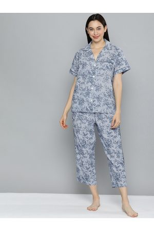 Chemistry Women Blue & White Printed Night suit