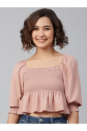 marie claire Women Peach-Coloured Puff Sleeves Georgette Peplum Crop Top