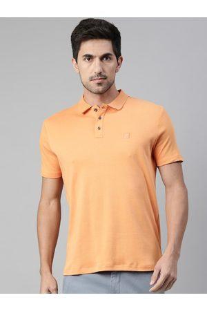 RARE RABBIT Men Orange Solid Polo Collar T-shirt