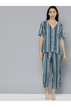 Chemistry Women Teal Blue & White Striped Night suit