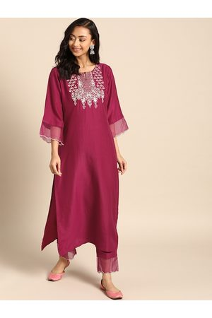 Varanga Women Magenta & Golden Yoke Design Kurta with Trousers