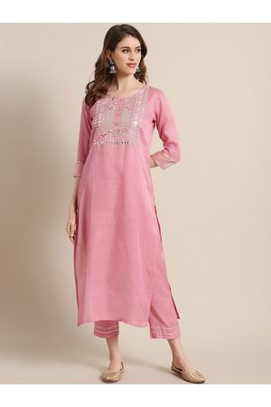 Varanga Women Pink Yoke Design Kurta with Trousers
