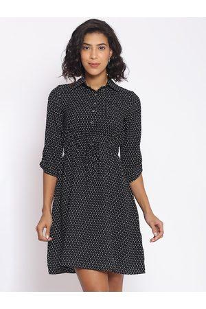 Cottinfab Women Black Printed Fit & Flare Dress