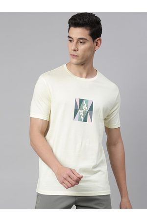 RARE RABBIT Men Yellow Printed Round Neck T-shirt