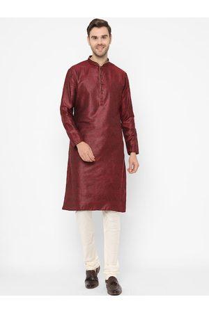 Chitwan Mohan Men Maroon & Off-White Woven Design Kurta with Pyjamas