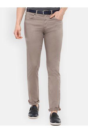 V Dot Men Beige Slim Fit Solid Regular Trousers