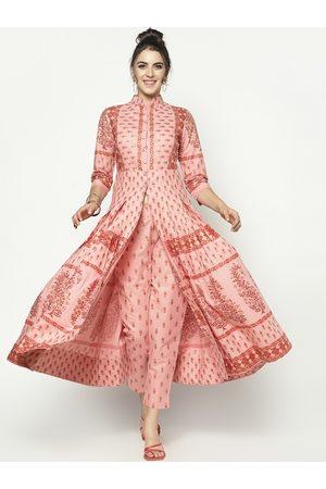 Sera Women Peach-Coloured Printed Kurta with Trousers