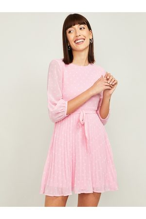 Lifestyle Women Pink Striped Fit and Flare Dress