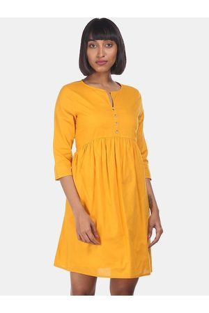 Cherokee Women Mustard Solid Empire Dress