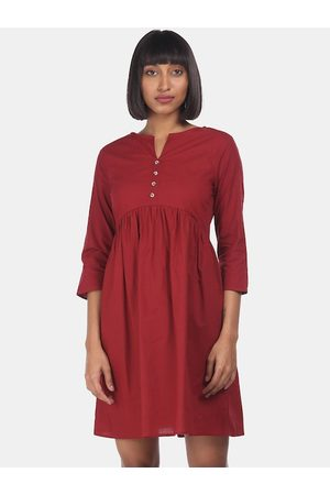 Cherokee Women Maroon Solid Fit and Flare Dress