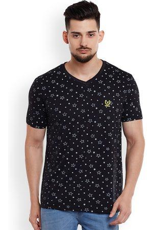 VIMAL JONNEY Men Black Printed V-Neck T-shirt