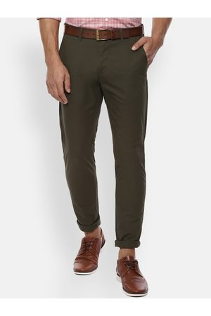 Van Heusen Men Olive Green Slim Fit Solid Regular Trousers
