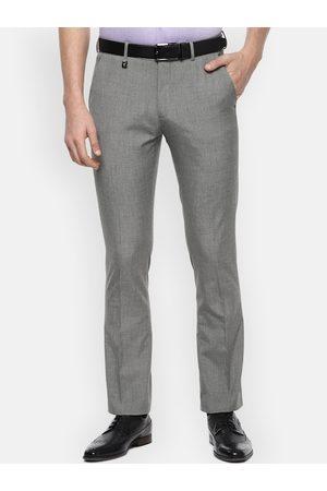 V Dot Men Grey Skinny Fit Solid Formal Trousers