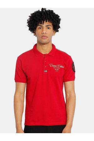 Cherokee Men Red Solid Polo Collar T-shirt