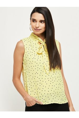 Max Collection Yellow Printed Tie-Up Neck Regular Top