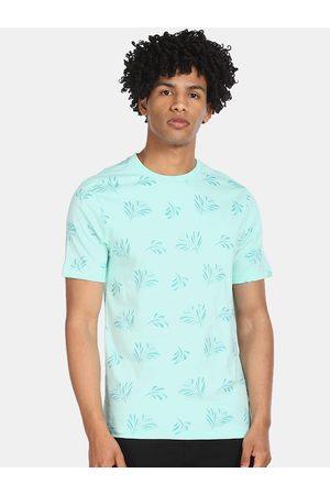 Cherokee Men Blue Printed Round Neck T-shirt