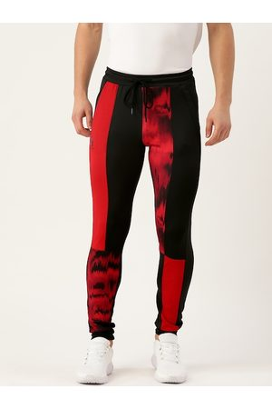 ACTOHOLIC Men Red & Black Colourblocked Joggers with Abstract Print Detail