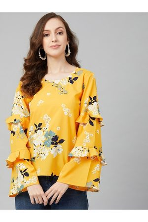 Rare Fashion Yellow Floral Printed Bell Sleeves Crepe Regular Top