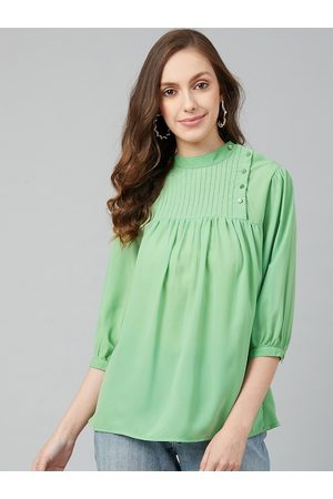 Rare Fashion Green Bishop Sleeves Georgette A-Line Top