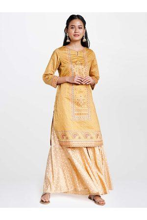 Global Desi Women Mustard Yellow & Gold-toned Foil Ethnic Motifs Printed Kurta