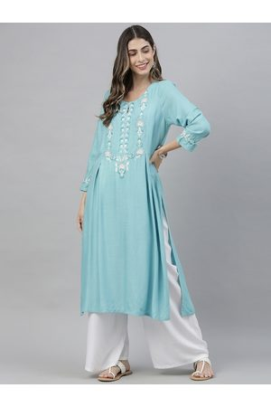 Global Desi Women Turquoise Blue Embroidered Keyhole Neck A-Line Kurta with Gathers