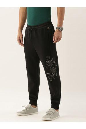 Calvin Klein Men Black Slim Fit Embroidered Joggers