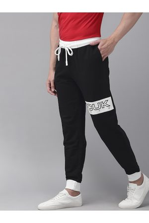 French Connection Men Black Slim Fit Solid Joggers with Printed Detail