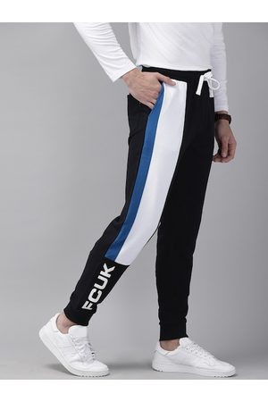 French Connection Men Black & White Slim Fit TWIN PANEL Printed Joggers