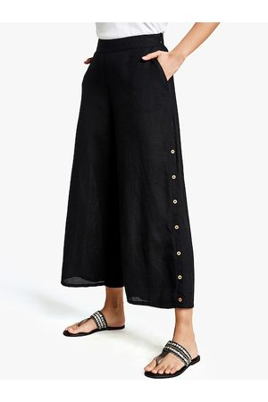 Global Desi Women Black Regular Fit Solid Button Detailed Parallel Trousers
