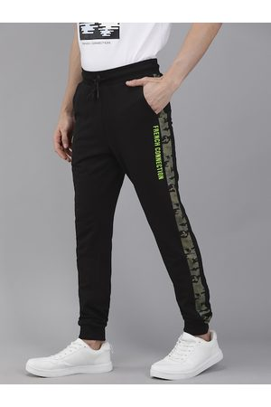 French Connection Men Black Solid Joggers With Side Stripes