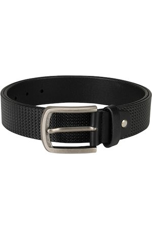 Da Milano Men Black Textured Leather Belt