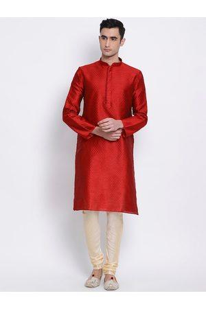Sanwara Men Red & Beige Woven Design Kurta with Churidar