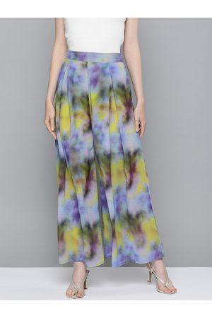 Sassafras Women Purple & Yellow Dyed Wide Leg Pleated Palazzos