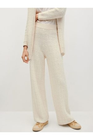 MANGO Women Off-White Regular Fit Self Checked Winter Parallel Trousers