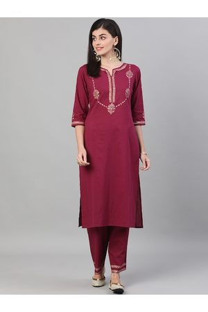 Nayo Women Burgundy & Gold-Toned Printed Kurta with Trousers