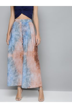 Sassafras Women Blue & Peach-Coloured Dyed Flared Trousers
