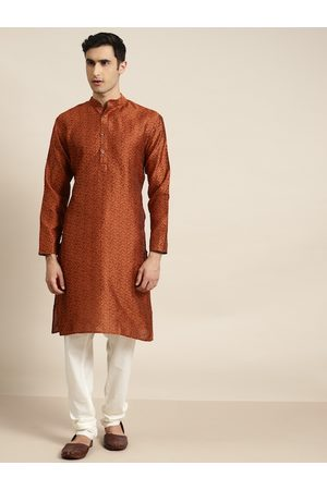 SOJANYA Men Rust Orange Floral Jacquard Woven Design Straight Kurta with Pyjamas
