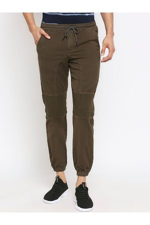 Mufti Men Olive Green Loose Fit Solid Joggers