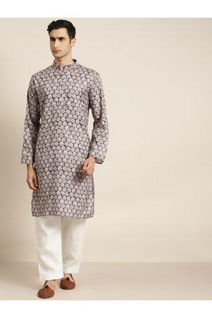 SOJANYA Men Navy Blue & Beige Pure Cotton Ethnic Motifs Print Kurta with Pyjamas