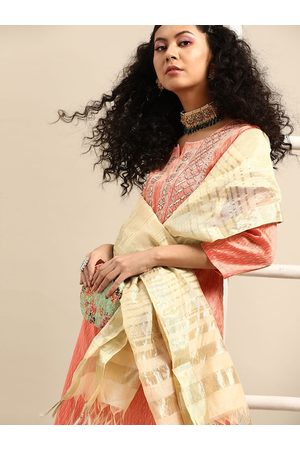 Varanga Women Coral Self Design Kurta with Trousers & Dupatta