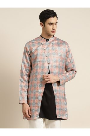 SOJANYA Men Rust Orange & White Ethnic Motifs Print Tailored Longline Jacket