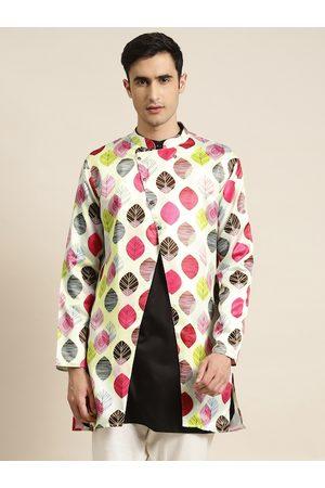 SOJANYA Men Mint Green & Magenta Leaf Print Longline Tailored Jacket with Front Slit