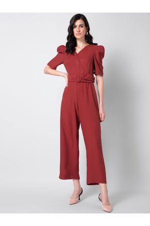 FabAlley Women Rust Solid Belted Wrap Basic Jumpsuit