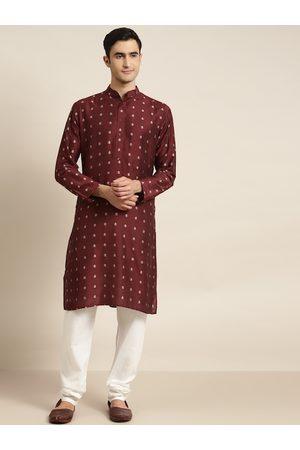 SOJANYA Men Maroon & Off-White Self Design Jacquard Kurta with Churidar