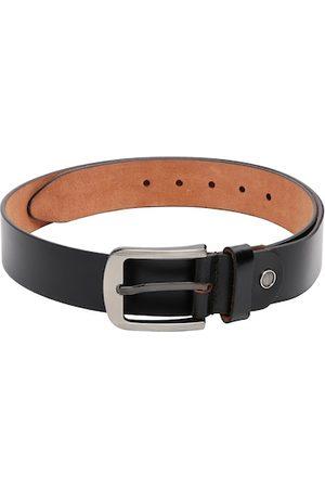 CRUSSET Men Black Textured Leather Belt