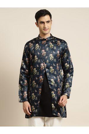 SOJANYA Men Navy Blue & Green Printed Asymmetric Closure Longline Ethnic Tailored Jacket