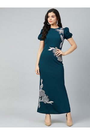 ATHENA Women Teal Solid Maxi Dress