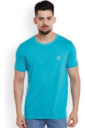 VIMAL JONNEY Men Turquoise Blue Solid Round Neck T-shirt