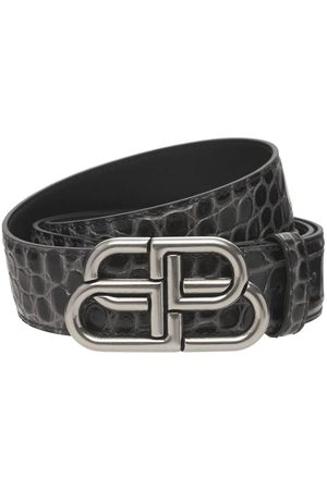 BALENCIAGA Bb Logo Croc Embossed Leather Belt